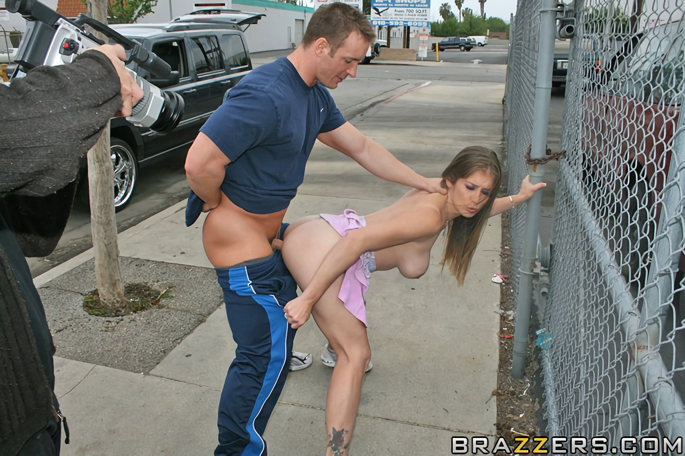 Big titted brunette fucked in the street