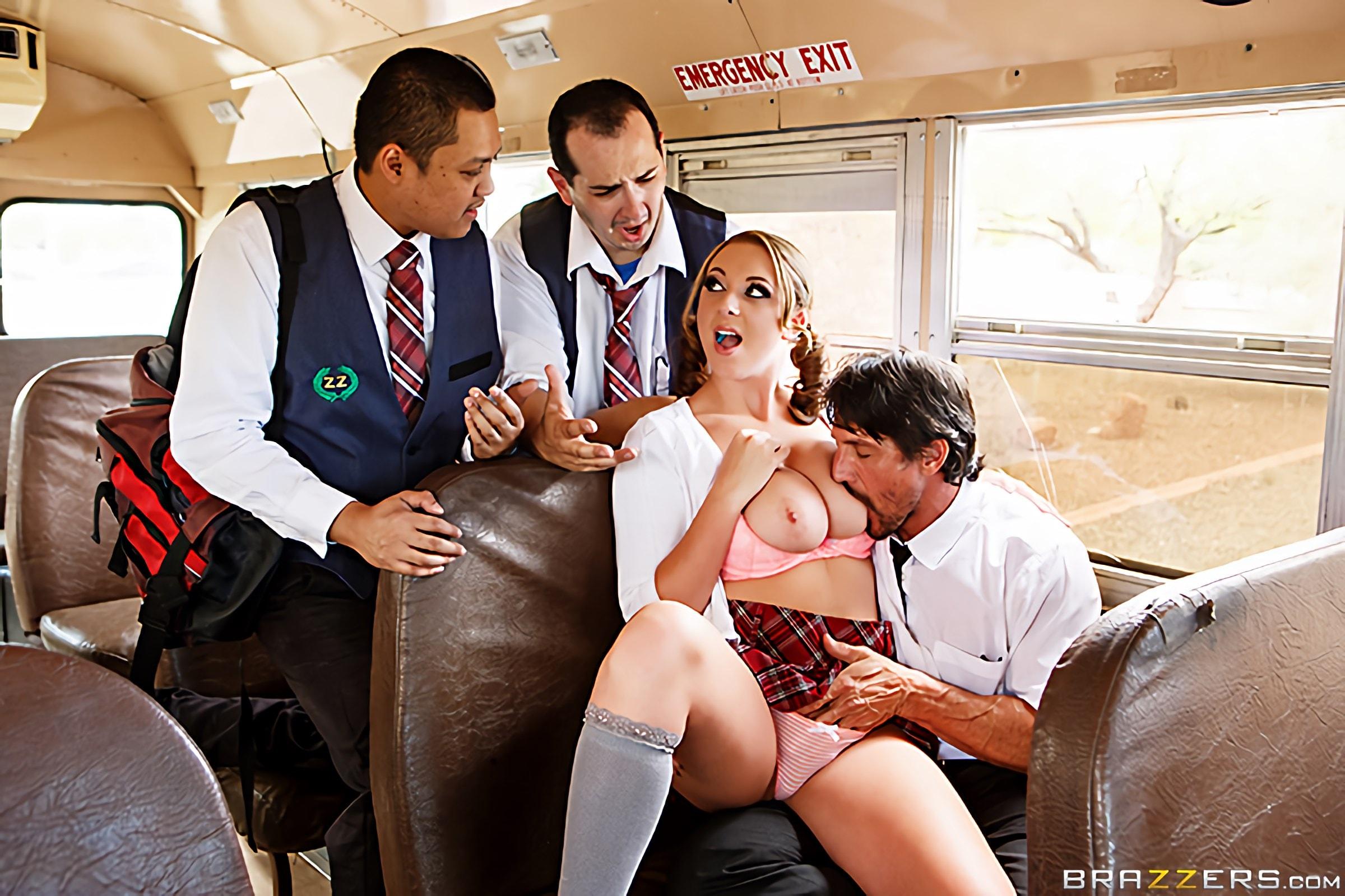 Cheerleader Orgy On The School Bus